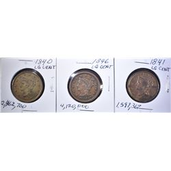 1840, 41, 46 LARGE CENTS MOSTLY XF SOME CLEANING