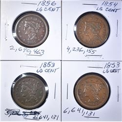 2 1853, 54, 56 LARGE CENTS XF SOME LIGHT PROBLEMS