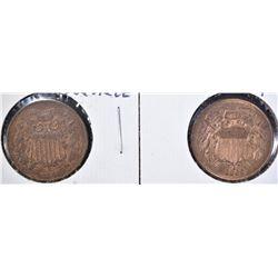 1866 & 69 2 CENT PIECES XF/AU