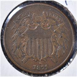 1871 2 CENT PIECE XF