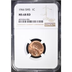 1966 SMS LINCOLN CENT NGC MS-68 RED