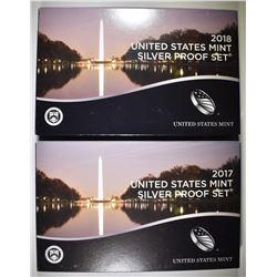 2017 & 18 U.S SILVER PROOF SETS ORIG PACKAGING