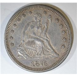 1876 SEATED LIBERTY QUARTER  UNC  OLD CLEANING