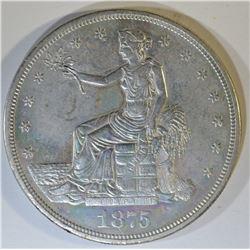 1875-CC TRADE DOLLAR  AU/UNC