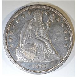 1860 SEATED LIBERTY DOLLAR  UNC  OLD CLEANING
