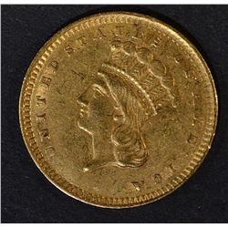 1856 UPRIGHT 5 $1 GOLD INDIAN PRINCESS  AU/UNC