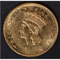 1861 $1 GOLD INDIAN PRINCESS  CH BU