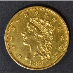 1834 $2.5 GOLD LIBERTY  BU  OLD CLEANING