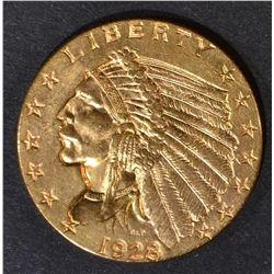 1928 $2.5 GOLD INDIAN  GEM BU