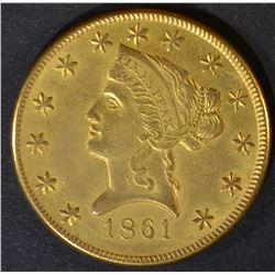 1861 $10 GOLD CLARK & GRUBER  CH ORIG  AU/UNC