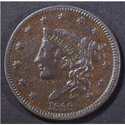 1838 LARGE CENT, XF POROUS