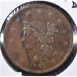 1841 LARGE CENT, VF BETTER DATE