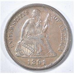 1891 SEATED LIBERTY DIME, AU/BU