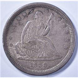 1838 SEATED LIBERTY QUARTER, AU