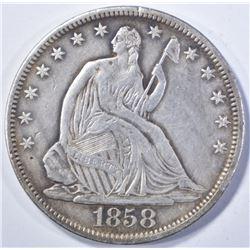 1858-S SEATED HALF DOLLAR, AU