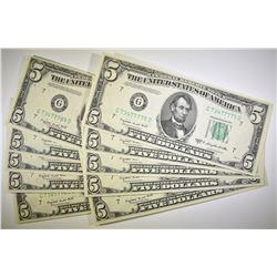 10 1950-C $5 FEDERAL RESERVE NOTE  GEM UNC