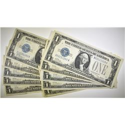 "10 1928 $1 SILVER CERTIFICATES  ""FUNNYBACKS"" VF/XF"