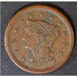 1857 LARGE CENT  SMALL DATE  XF/AU BROWN