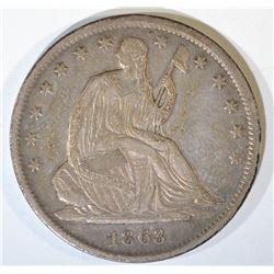 1863-S SEATED HALF DOLLAR  XF+ ORIGINAL