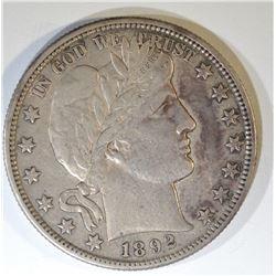1892-S BARBER HALF DOLLAR  XF/AU