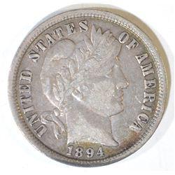 1894 BARBER DIME  ORIGINAL XF/AU