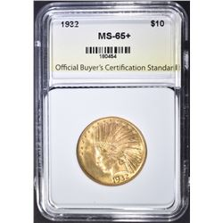 1932 $10 GOLD INDIAN  OBCS GEM BU+