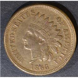 1863 INDIAN CENT  ORIGINAL AU  NICE