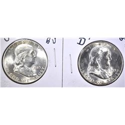 1949-D & 49-S GEM BU FRANKLIN HALF DOLLARS