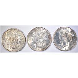 2-1921 MORGAN & 1-1923 PEACE BU SILVER DOLLARS