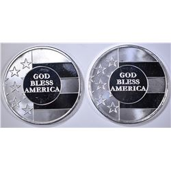 2-GOD BLESS AMERICA ONE OUNCE .999 SILVER ROUNDS