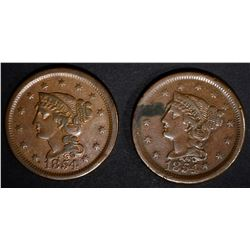 2 - 1854 LARGE CENTS,  XF