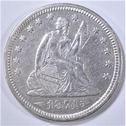 1874 SEATED LIBERTY QUARTER  AU