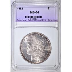 1892 MORGAN DOLLAR, APCG CH/ GEM BU