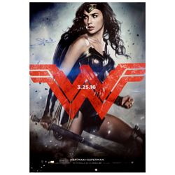 Gal Gadot Autographed 2016 Batman vs Superman Wonder Woman Original 27x40 Double-Sided Movie Poster