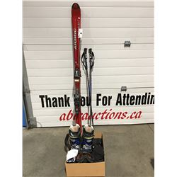 PAIR OF ATOMIC BETA CARVE DOWNHILL SKIS WITH POLES/BOOTS/SNOW PANTS/GLOVES & GOGGLES