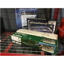 GROUP OF 4 OUTDOOR CAMPING ITEMS - SHEPHERD PROPANE STOVE/SMALL DOME TENT/BUG SHELTER & TARP