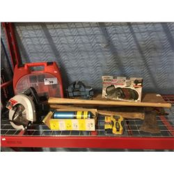 GROUP OF ASSTD TOOLS - DRILL CASE WITH ACCESSORIES/CRAFTSMAN SKILLSAW/SMALL BENCH VISE/ZIP