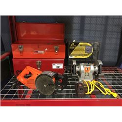 GROUP OF ASSTD TOOLS - 2 SMALL METAL TOOL BOXES/PARTS ORGANIZER/BENCH GRINDER/DRILL/ELECTRIC