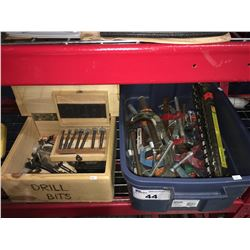 2 BOXES OF ASSTD BAR CLAMPS/C-CLAMPS/DRILL BITS ETC.