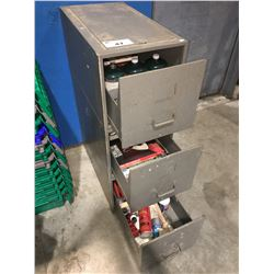 GREY METAL 3 DRAWER FILING CABINET FILLED WITH MISC. ITEMS - GUN CLEANING SUPPLIES/WOOD WORKING