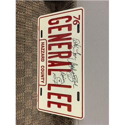 NO RESERVE AUTOGRAPHED GENERAL LEE LICENSE PLATE SIGNED BY DAISY DUKE CATHERINE BACH
