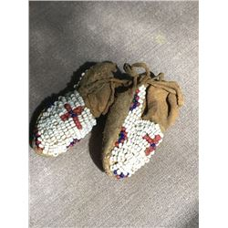 Native American Beadwork Authenticated Miniature Moccasins