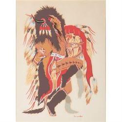 Woody Crumbo The Buffalo Dance  (Potawatomi, 1912-1989) Silkscreens on Paper Taos Prints