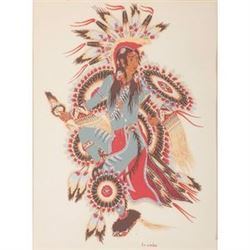 Woody Crumbo (Potawatomi, 1912-1989) Silkscreen on paper Taos Circa 1970s