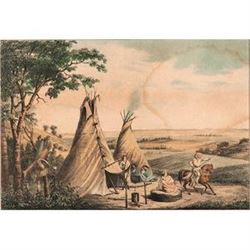 The Rolling Prairies, a framed hand-colored lithograph by H. Lewis