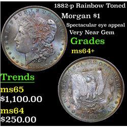 1882-p Rainbow Toned Morgan Dollar $1 Grades Choice+ Unc (fc)