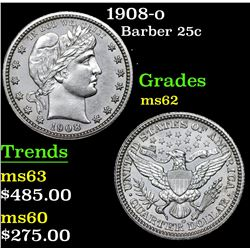 1908-o Barber Quarter 25c Grades Select Unc