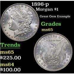 1896-p Morgan Dollar $1 Grades GEM Unc