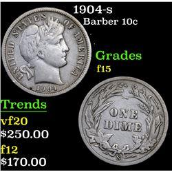 1904-s Barber Dime 10c Grades f+