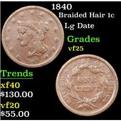 1840 Braided Hair Large Cent 1c Grades vf+